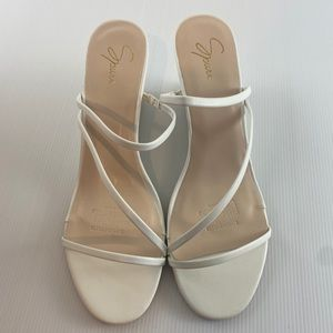 Women's White Strappy Wedge Heel Shoes Size 10